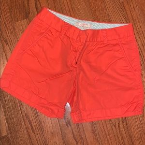Orange J Crew chino shorts